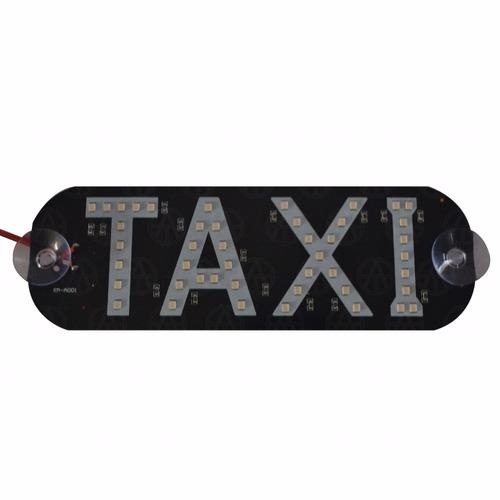 letrero de taxi con luz hiper led azul ventosas parabrisas 3