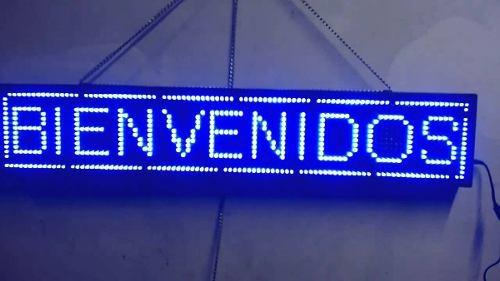 letrero led anuncio programable azul publicidad