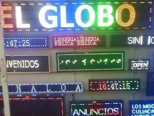 letrero led luminoso programable multicolor para publicidad