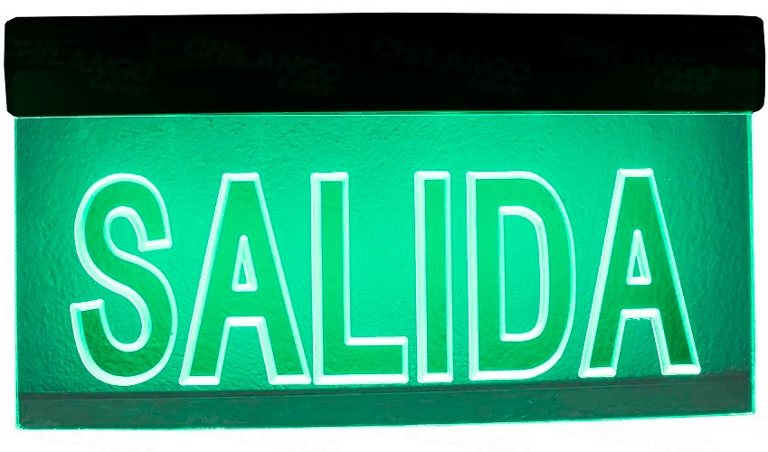 Letrero led luminoso salida con luz emergencia for Salida libre