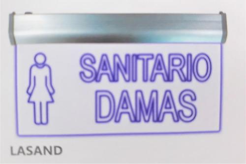 letrero led sanitario damas azul 127v emergencia