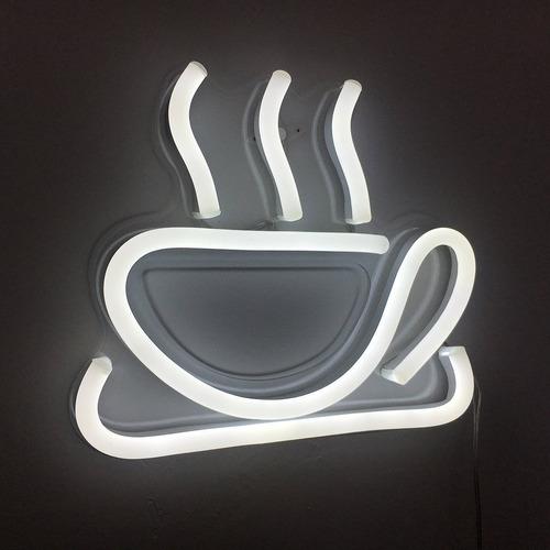 letrero luminoso de neon taza de cafe hecho a mano vasten