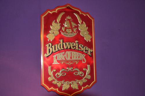 letrero metalico budweiser vintage de colección