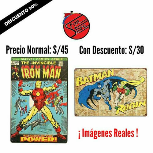 letrero metalico superheroes