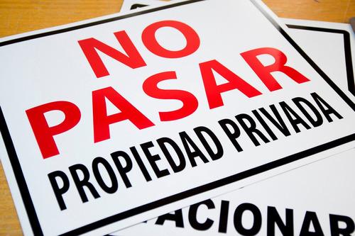 letrero no pasar propiedad privada 20 x 30 x 0,35 mm