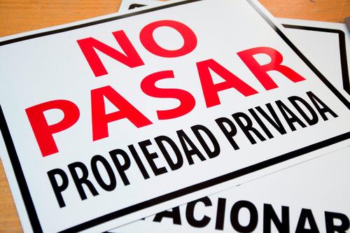 letrero no pasar propiedad privada 40 x 50 x 0,5 mm