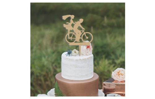 letrero para pastel silueta de novios en bicicleta art965