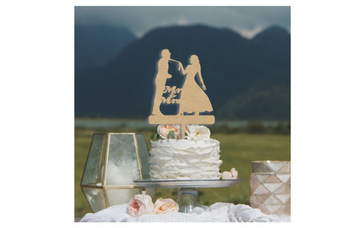 letrero para pastel silueta de novios mr and mrs art964