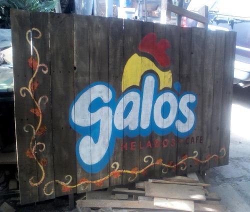 letrero personalizado en madera reciclada vintage retro