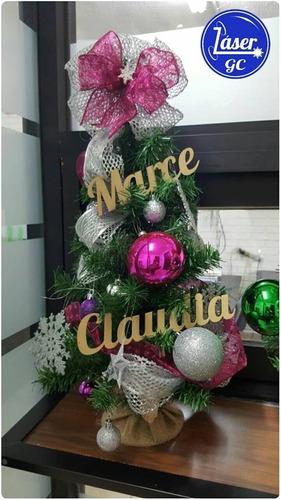 letrero personalizado navideño 10cm nombre pino mdf navidad