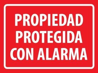 letrero propiedad protegida con alarma 30 x 40 x 0,5 mm