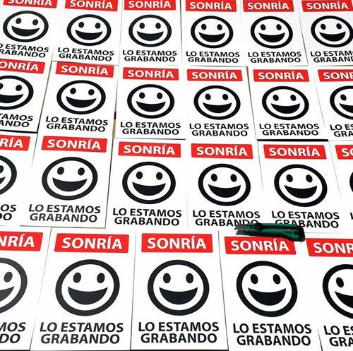 letrero: sonría lo estamos grabando 20x30 cm x 0,35 mm