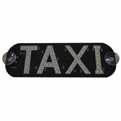 letrero taxi con luz hiper leds blanco ventosas parabrisas 1