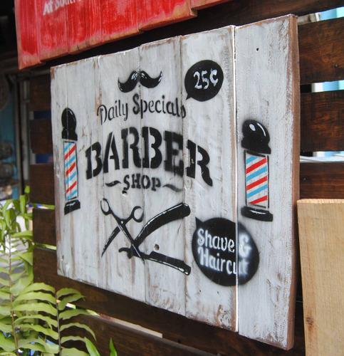 letrero vintage en madera, barber shop