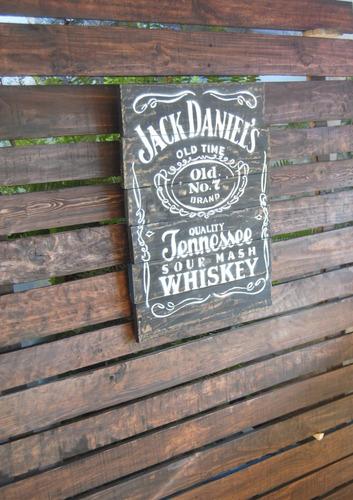 letrero vintage en madera reciclada jack daniels