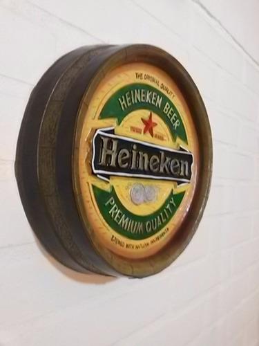 letrero vintage tapa barril cerveza heineken pub bar