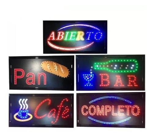 letreros, carteles luminosos led abierto bar cafe pan