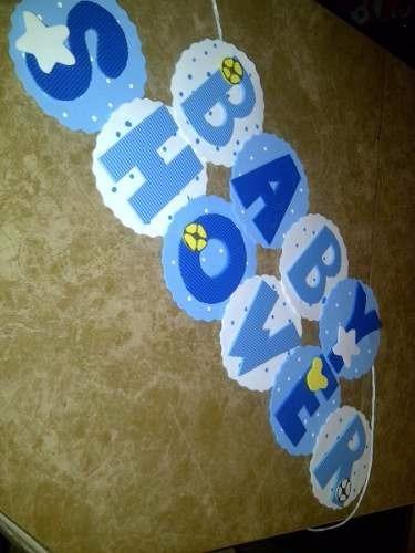 Letreros de baby shower feliz cumple en foami bs 1 - Adornos baby shower nino ...