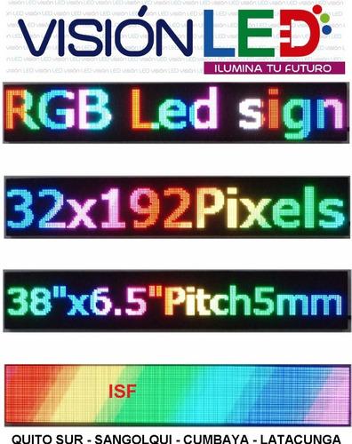 letreros led rgb hd programables 1mt x 20cm - publicidad