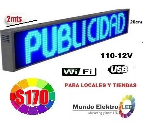 letreros luminosos led 500 caracteres 2m x 0.20cm $150