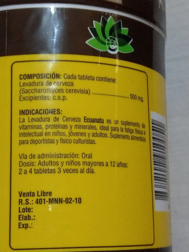 levadura de cerveza x 1000 pastillas ecuanatu importada