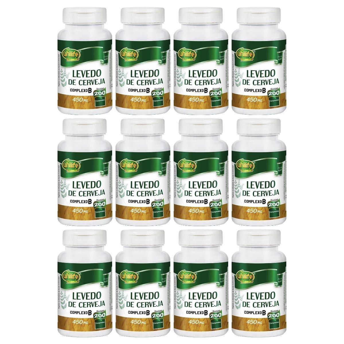 Levedo De Cerveja 200 Comprimidos 450mg Unilife Kit 12 Unidades