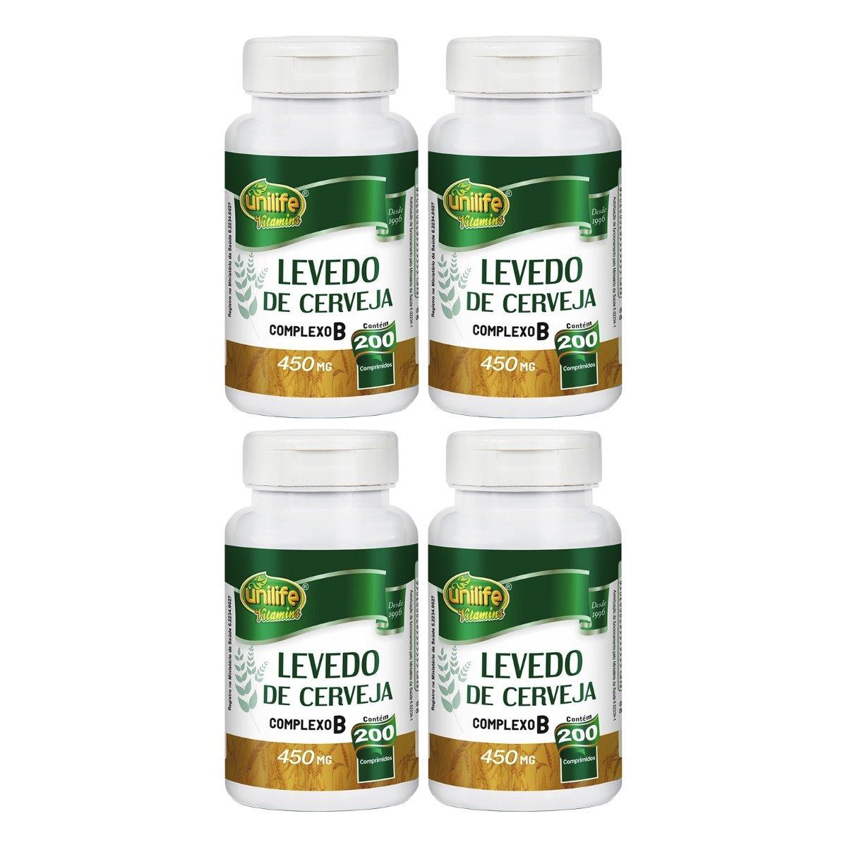 Levedo De Cerveja 200 Comprimidos 450mg Unilife Kit 4 Unidades