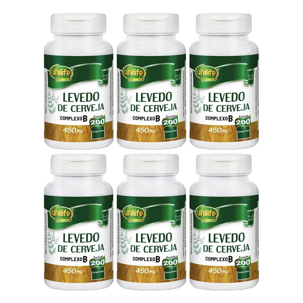 Levedo De Cerveja 200 Comprimidos 450mg Unilife Kit 6 Unidades