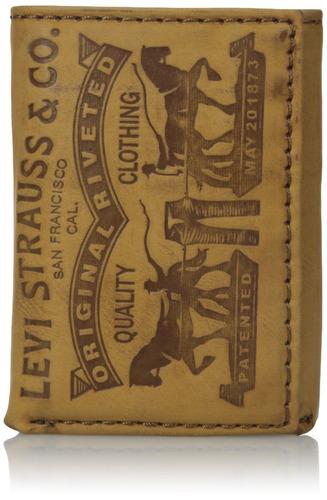 levi's men's cuero 2 caballo logo trifold wallet, cognac, on