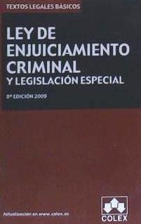 ley de enjuiciamiento criminal y legislación especial(libro