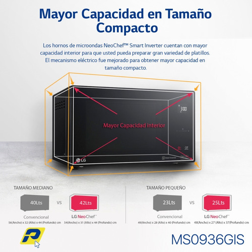 lg microondas 0.9 pies negro elegante  smart inverter