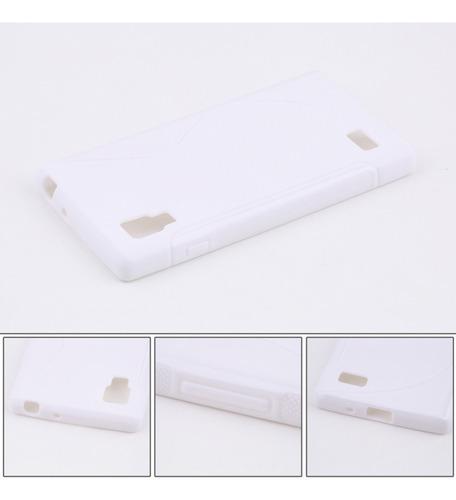 lg p760 en forma de s de tpu blanco caja del teléfono de