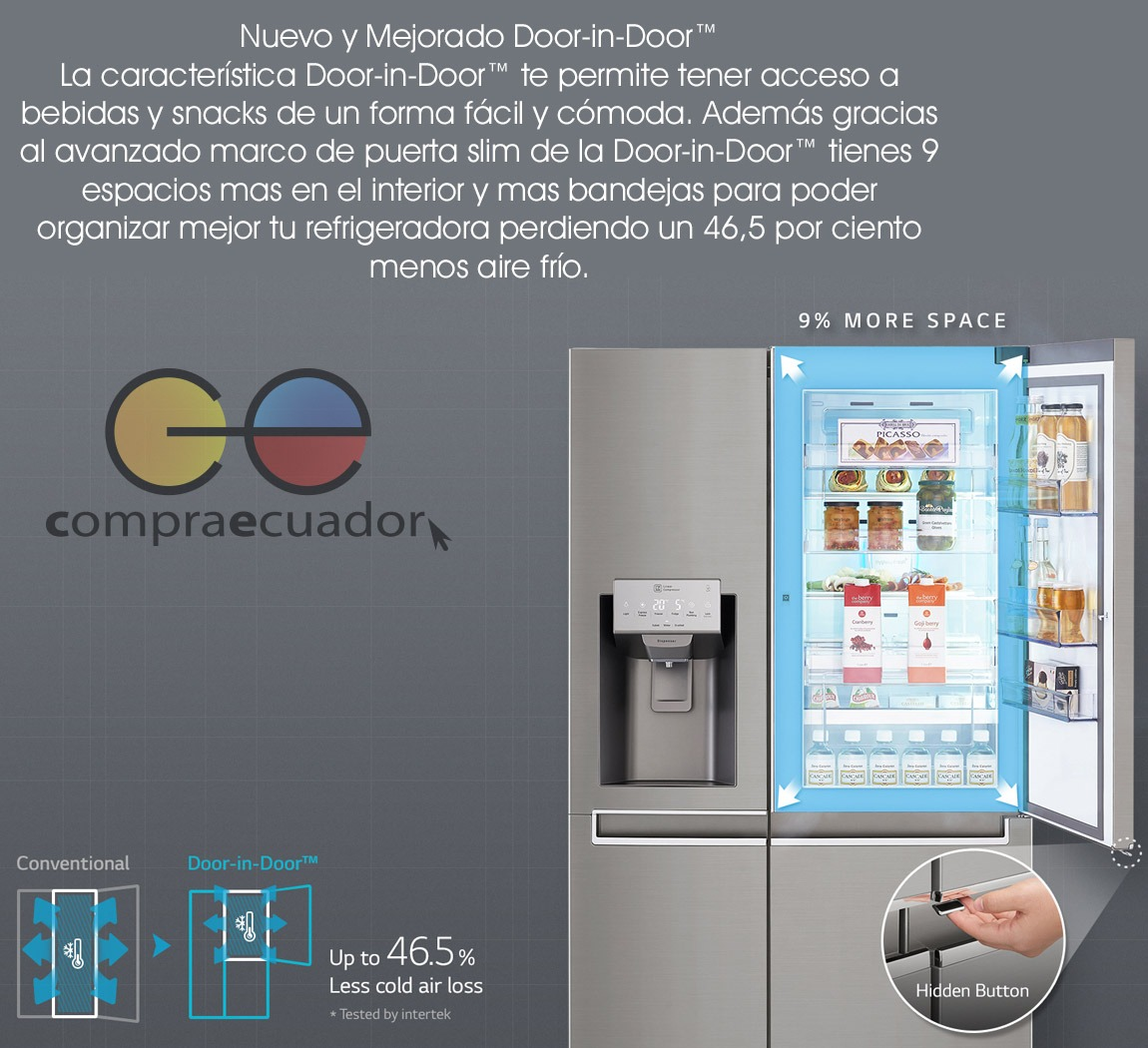 Lg Refrigeradora Nevera Side By Side 601 Litros 3 Puertas - U$S ...