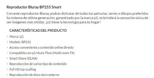 lg reproductor bluray bp255 smart