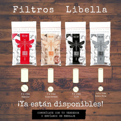 libella filtros regular 200u engomado- filter tips 8x15mm