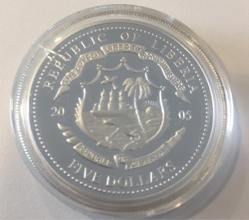 liberia 5 dolares 2005 - moneda conmemorativa visita papal