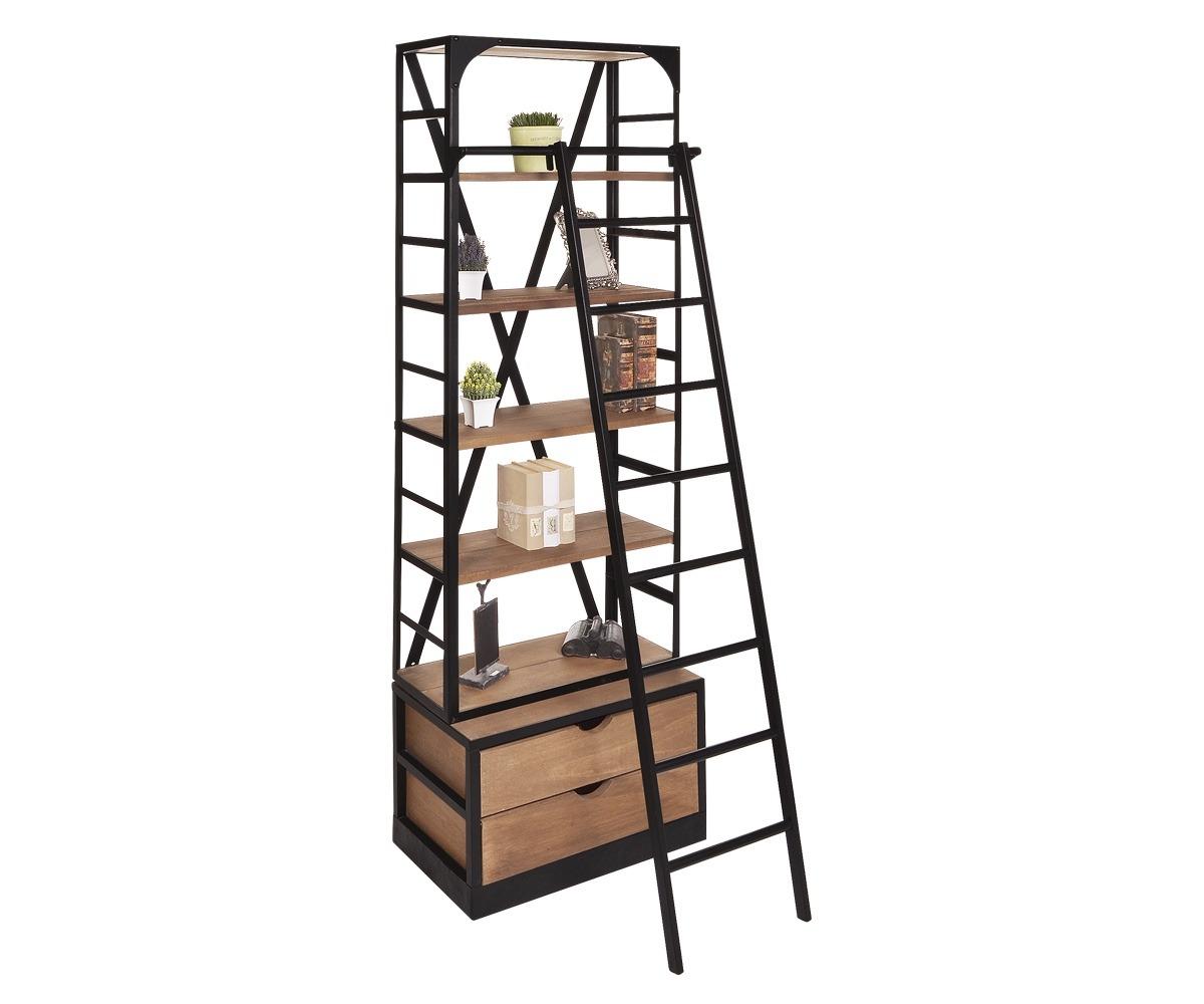 Librero bossa escalera madera y acero negro 13 for Librero escalera