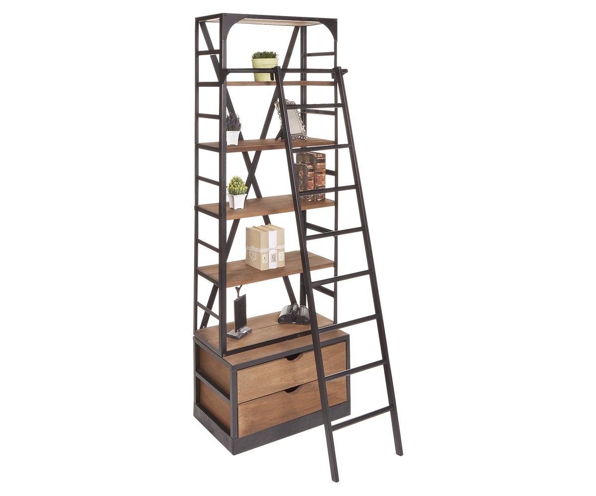 Librero bossa escalera madera y acero negro chico for Librero escalera