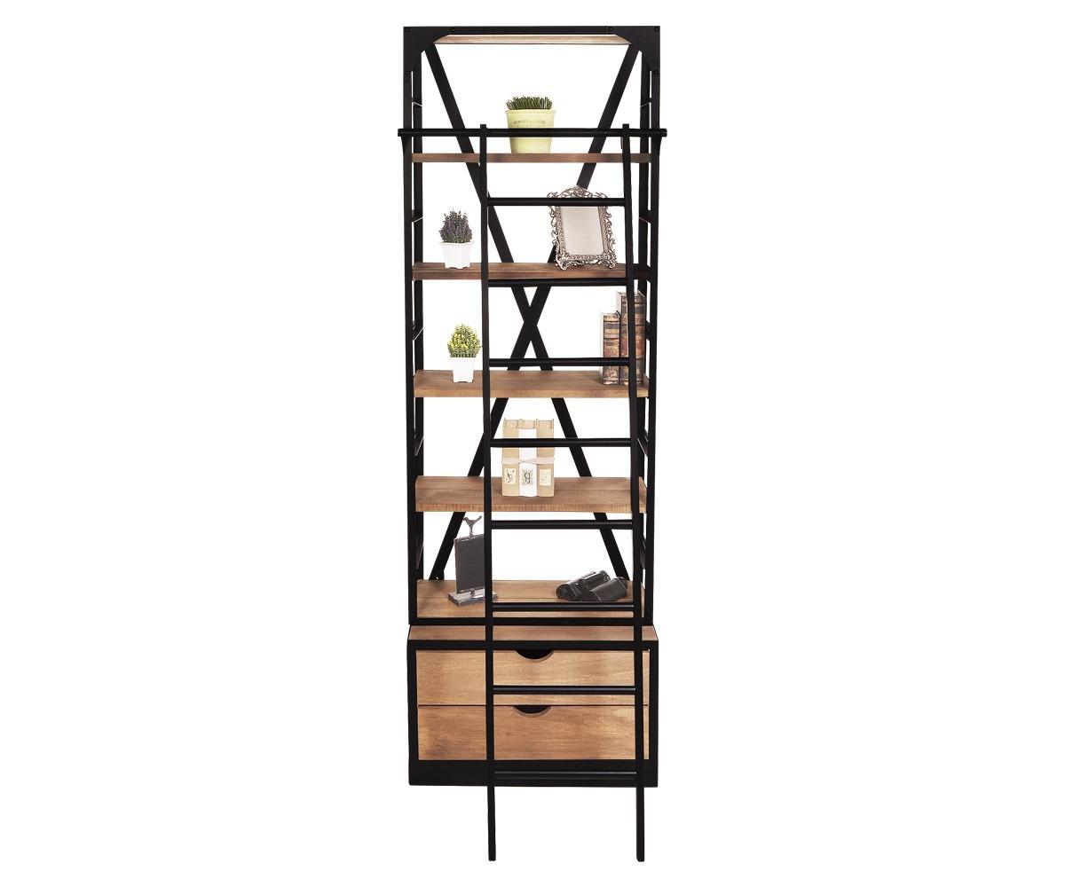 Librero con escalera bossa madera acero negro chico for Librero escalera