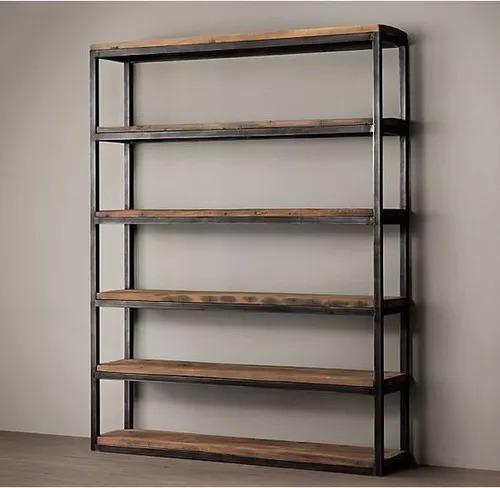 librero contemporáneo, elegante, diseño sobrio metal madera