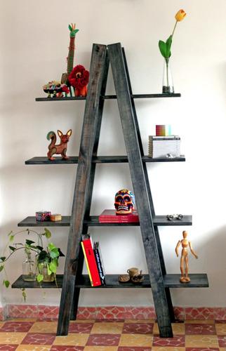 Librero nuevo tipo escalera madera 100 2 en for Librero escalera