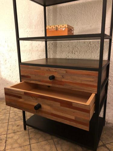 librero reciclato nogal con hierro, 2 cajones y 5 entrepaños