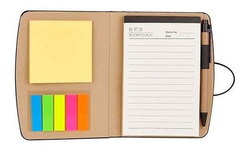 libreta curpiel block de notas adheribles con bolígrafo