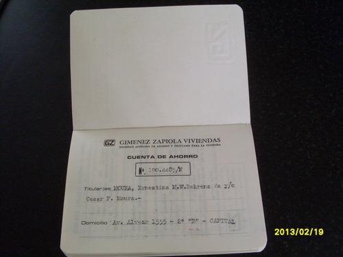 libreta de ahorro  gimenez zapiola  viviendas. s.a.