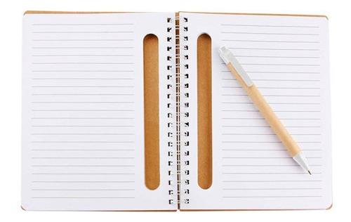 libreta de bolsillo ecológica con espiral y notas adheribles