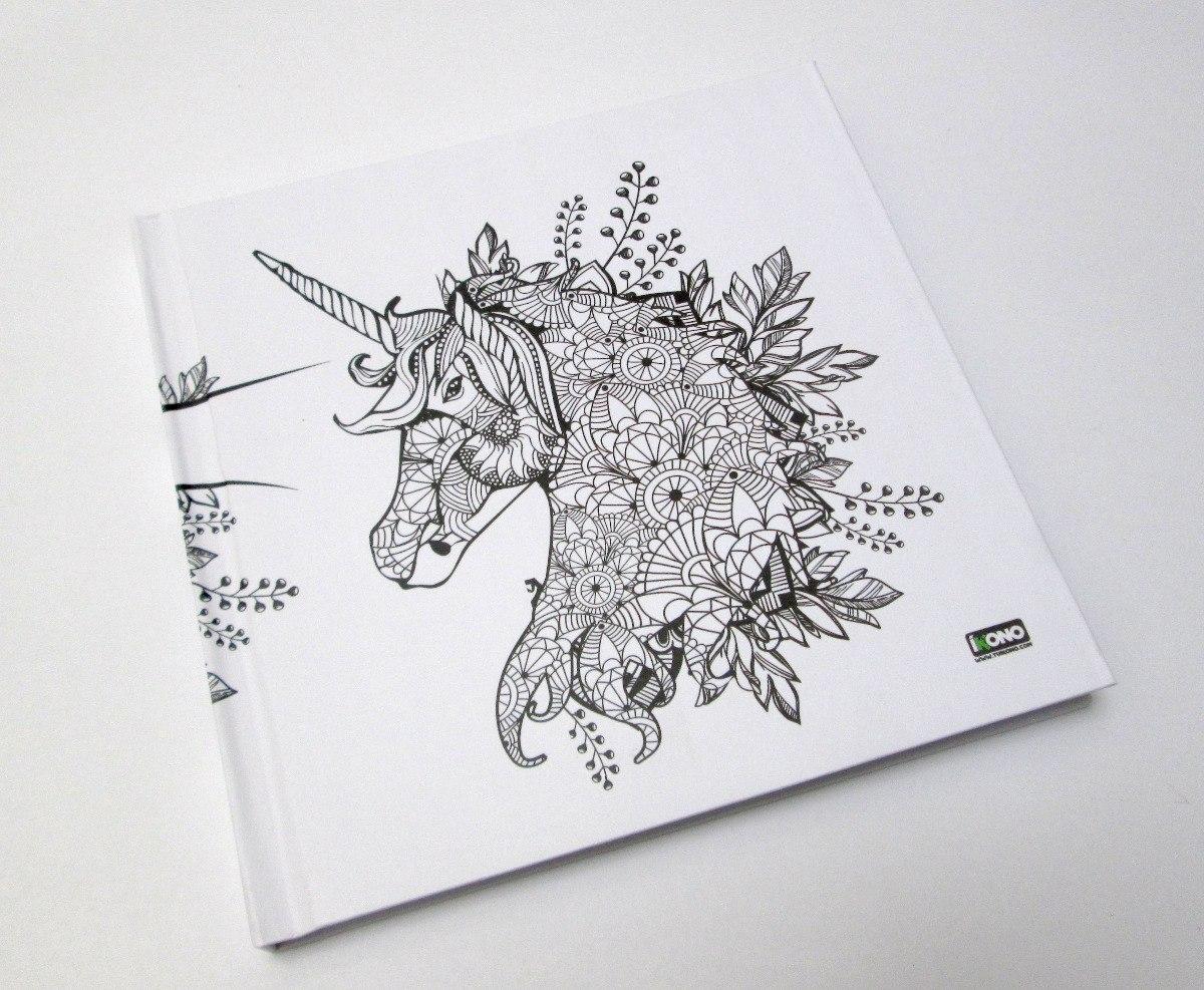 Dibujo Para Colorear Libreta: Libreta De Dibujo Mandala Unicornio Papel Blanco