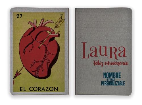 libreta loteria mexicana el corazon personalizanble