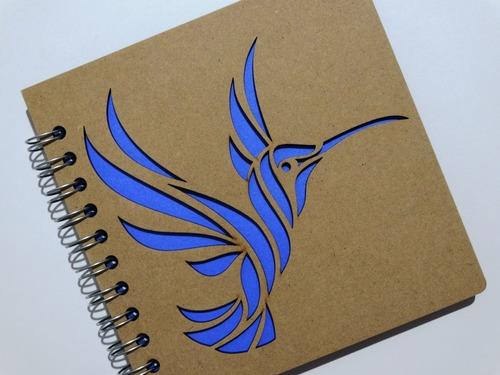 libreta madera corte láser colibrie