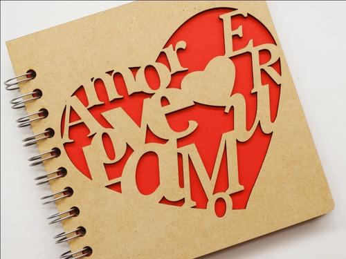 libreta madera corte láser corazón español inglés y francés