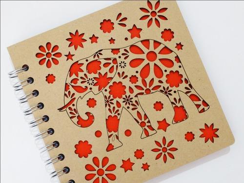 libreta madera corte láser elefante indú